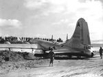 B-29 crash-landed on Motoyama Airfield, Iwo Jima, Bonin Islands, after fighters disabled two engines on a bombing run over Osaka, 10 Mar 1945. Photo 2 of 2.