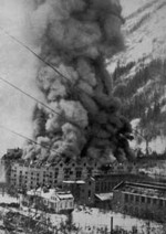 Smoking rising from Vemork hydroelectric plant after Allied air raid, Telemark, Norway, 16 Nov 1943