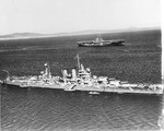 Cruiser USS Wichita at anchor in Scapa Flow, early Apr 1942. Carrier USS Wasp (Wasp-class) is beyond.