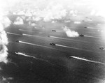 United States Navy Third Fleet outside Tokyo Bay, Japan, Aug 1945 soon after the Japanese surrender. Visible are at least five fleet carriers, three light carriers, three battleships, and numerous escorts.