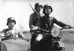 Chinese soldiers on a K800 motorcycle, circa 1937