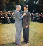 President Truman presenting the Medal of Honor to medical corpsman Desmond Doss at the White House, Washington DC, 12 Oct 1945. The medal was for actions on Okinawa, Japan. Photo 3 of 3.