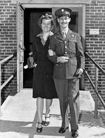 Medical Corpsman Desmond Doss and his wife, Dorothy, at the Woodrow Wilson General Hospital in Fishersville, Virginia, United States, fall 1945.