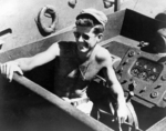 Kennedy aboard PT-109, circa mid-1943. Photo 2 of 2.