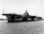 USS Franklin at Norfolk, Virginia, United States, 4 May 1944 shortly after her port side was repainted from Measure 32 Design 6a to Design 3a. Her starboard side remained Design 6a.