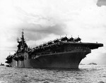 USS Randolph at anchor, San Pedro Bay, Leyte Gulf, Philippines, Jun 1945.