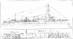 Profile plans for the Clemson-class flush-deck four-stack destroyers