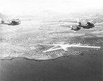 Three PBY-5A Catalinas of Patrol Squadron VP-73 approaching Reykjavík, Iceland, 23 Mar 1942. Note the red and white rudder stripes that were authorized for barely four months.