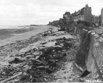 2 Jul 1944 photo of the wreckage left on Sword Beach following the D-Day landings in Normandy, France; in this case, a P-47 Thunderbolt that was shot down 10 Jun 1944 on a mission to Cherbourg, France. Photo 2 of 2.