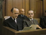 Alfried Krupp reading a document during the Krupp Trial, Palace of Justice, Nürnberg, Germany, 1948