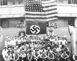 US Navy prize crew aboard the seized German blockade runner Odenwald in the South Atlantic, 6 Nov 1941. The Odenwald had been disguised as the US-flag ship Willmoto carrying rubber from Japan to Germany.