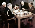 A luncheon meeting of the Joint Chiefs of Staff, Washington DC, circa 1943. Left to Right: General Henry H Arnold, Admiral William D Leahy, Admiral Ernest J King, and General George C Marshall.