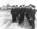 US Navy Rear Admiral Alan G Kirk introducing his staff to King George VI of the United Kingdom, Portland, England, 25 May 1944. Admiral Kirk was in command of all US Naval forces for the Normandy landings.