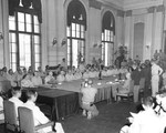 Japanese Surrender ceremonies at the Government Building, Seoul, Korea, 9 Sep 1945. The Japanese delegation is on the right side of the table and the US representatives are on the left.