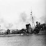 HMS Kelly on the River Tyne in England, United Kingdom after S-Boat damage off the Netherlands, mid-May 1940