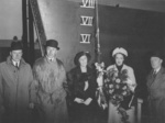 Antonia Kelly and others at the launch party of HMS Kelly, Hawthorn Leslie yard, Hebburn, England, United Kingdom, 25 Oct 1938