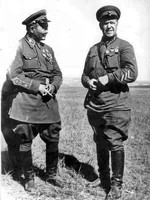 Georgy Zhukov and Khorloogiin Choibalsan during the Battle of Khalkhin Gol, Mongolia Area, China, 1939, photo 2 of 2