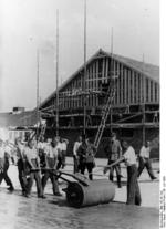 SS guards overseeing prisoners, Dachau Concentration Camp, Germany, 28 Jun 1938