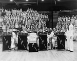 Members of the dance band from the USS Arizona during the Battle of Music semifinal at Bloch Arena, Pearl Harbor, Territory of Hawaii, 22 Nov 1941.