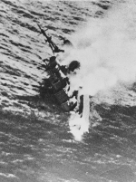 HMS Exeter sinking south of Borneo, Dutch East Indies, 1 Mar 1942, photo 1 of 2
