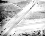 Aerial view of a glider training airstrip in Texas, 1943. Visible are C-47 Skytrain tow planes with Waco CG-4A gliders. Photo 2 of 5