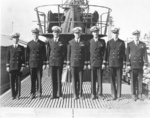 USS Burrfish officers during the commissioning ceremony, 14 Sep 1943