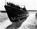 Launching ceremony of Haddock, Portsmouth Navy Yard, Kittery, Maine, United States, 20 Oct 1941