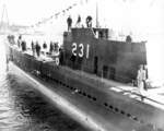 Submarine Haddock shortly after launching, Portsmouth Navy Yard, Kittery, Maine, United States, 20 Oct 1941