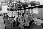 Soviet prisoners of war arriving at Sachsenhausen Concentration Camp, Germany, 1944-1945
