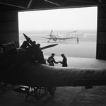 Two Master aircraft and a Spitfire aircraft at RAF Grangemouth, Scotland, United Kingdom, date unknown