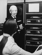 Captain Grace Hopper speaking with a member of her team, Washington DC, United States, Aug 1976
