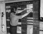 Status board in the Joint Operations Room aboard USS Ancon while at Oran, French Algeria, 3 Jul 1943