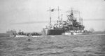 USS Ancon at anchor off Normandie, France, Jun 1944