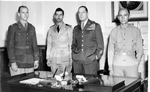 Ed Dyess, Melvyn McCoy, Douglas MacArthur, and Stephen Mellnik in Brisbane, Australia, 30 Jul 1943