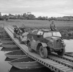 C8 and 25-pdr field gun crossing a pontoon bridge near Slaght Bridge, County Antrim, Northern Ireland, United Kingdom, 26 Jun 1942