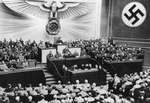 Adolf Hitler giving a speech to the Reichstag, Kroll Opera House, Berlin, Germany, 1 Sep 1939.
