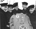 The five Sullivan brothers aboard USS Juneau upon her commissioning at New York Navy Yard, 14 Feb 1942. Left to Right they are Joseph, Francis, Albert, Madison, and George. All five were later lost with the ship.