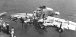 Wreckage of the Sikorsky XPBS-1 patrol bomber that was destroyed after hitting a submerged log while landing at Alameda, California, United States 30 Jun 1942 with Admiral Chester Nimitz on board.