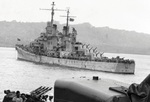 Destroyer USS Laffey (foreground) and cruiser USS Juneau in Luganville anchorage, Espiritu Santo, New Hebrides, 16 Sep 1942. Both ships arrived with survivors of the sunken USS Wasp (Wasp-class). Photo 4 of 4.