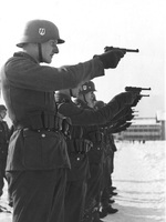 Waffen-SS grenadiers training with P08 Luger pistols, 1942-43, location unknown.