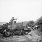 A 2-inch mortar being fired from a Universal Carrier in Britain, 10 May 1943