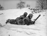 2-inch mortar team of UK 2nd Warwickshire Regiment at Rumegies, Nord-Pas-de-Calais, France, 22 Jan 1940
