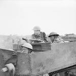 Universal Carrier and crew of UK 2nd Sherwood Foresters regiment, Anzio, Italy, Apr 1944; note 2-inch mortar