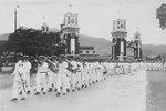 Military marching band playing on the occasion of Crown Prince Hirohito