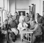 Winston Churchill presiding over the Allied Planning Conference, Algiers, Algeria, 4 Jun 1943; note Eden, Brooke, Tedder, Cunningham, Alexander, Marshall, Eisenhower, and Montgomery