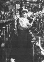 A sailor in the engine room of USS S-44, date unknown