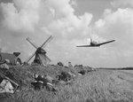 Bf 108 aircraft in flight during the filming of a movie, Beemster, the Netherlands, 23 Jul 1958