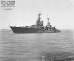Cruiser USS Portland as seen off Mare Island Naval Shipyard, California after overhaul, 17 May 1943.