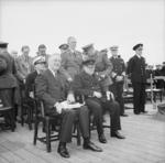 Roosevelt and Churchill at the Atlantic Charter Conference, Placentia Bay, Newfoundland, 10-12 Aug 1941, photo 2 of 2; Hopkins, Harriman, King, Marshall, Dill, Stark, and Pound behind them