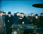 Franklin Roosevelt speaking with Harry Hopkins, Saki, Russia, early Feb 1945